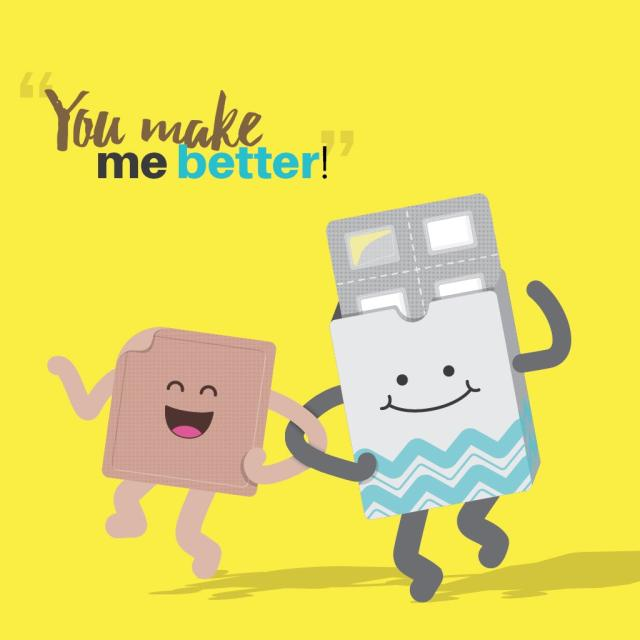 "Animated nicotine patch and nicotine gum with text saying ""you make me better"""